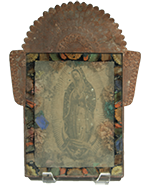 Reverse-painted Antique Nicho with print of Guadalupe
