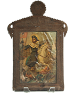 Saint George on Horse in Antique Tin Nicho