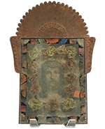 Tin Nicho with Crucifixion Chromolithograph