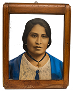 Native woman wearing blue